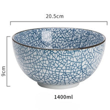 Load image into Gallery viewer, Japanese classical ceramic tableware kitchen soup noodle rice bowl 6 inch 8 inch big ramen bowl  spoon and tea cup