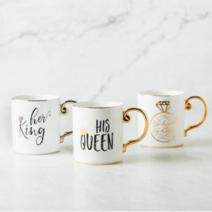 Luxury Gold King and Queen Diamond Porcelain Coffee Mug Tea Milk Ceramic Cups and Mugs Wedding Gift