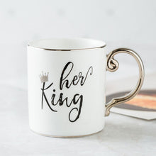 Load image into Gallery viewer, Luxury Gold King and Queen Diamond Porcelain Coffee Mug Tea Milk Ceramic Cups and Mugs Wedding Gift