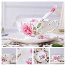 Load image into Gallery viewer, Europe Noble Bone China Coffee Cup Saucer Spoon Set 200ml Luxury Ceramic Mug Top-grade Porcelain Tea Cup Cafe Party Drinkware