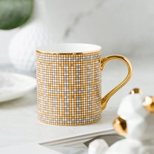 350ml British Style Luxury Gold Stripes Bone China Coffee Mug Afternoon Water Tea Drink Cup with Gift Box