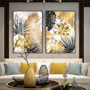 Plants & leaves Abstract Canvas Wall Art
