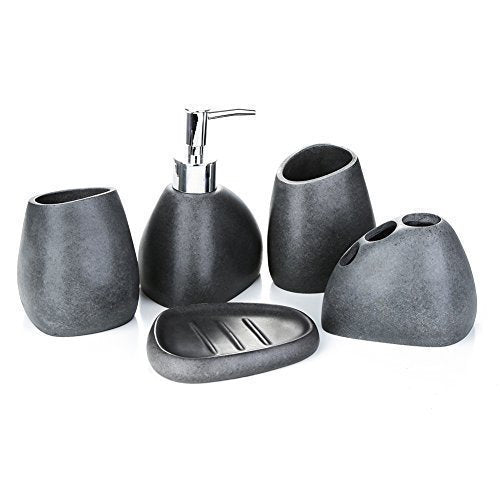 Gravel black bathroom set | Qolombo