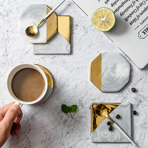 1PCS Marble Cup Mat Gold Marble Coaster Cup Mat Round Square Octagon Placemat Pad Holder Mug Coaster Table Placemat wholesale