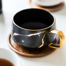 Load image into Gallery viewer, 300ml Luxury matte ceramic marble tea coffee Cups and with wood Saucers black and white gold inlay ceramic cups