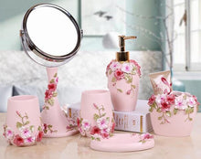 Load image into Gallery viewer, Pink floral bathroom accessaries set | Qolombo