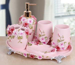 Pink floral bathroom accessaries set | Qolombo
