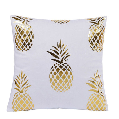 White & Gold Pineapple Cushion Cover