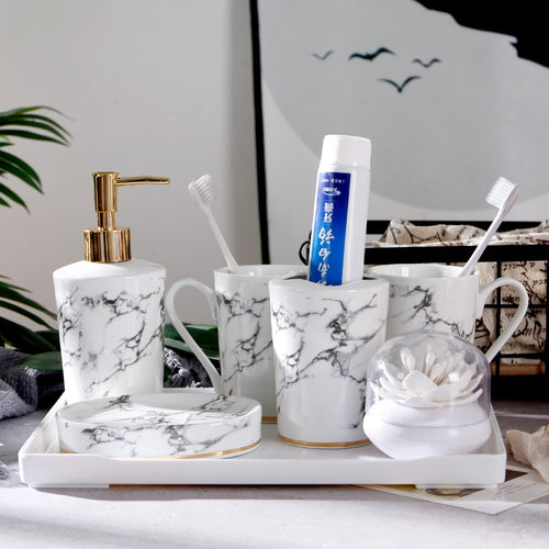Marble Bathroom Accessories Set | Qolombo