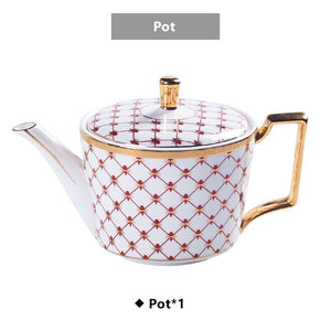 Elegant Bone China Coffee Set Gold Porcelain Tea Set Luxury Pot Cup Advanced Ceramic Mug Sugar Bowl Creamer Teapot Milk Jug