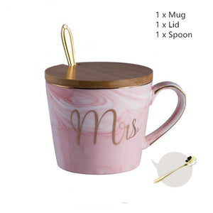 Classic Marble Porcelain Coffee Mug Hand Painted Ceramic Mr and Mrs Tea Milk Cups Cafe Drinkware Novelty Gifts