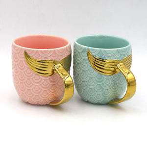 Golden Mermaid Tail Ceramic Mug with Handle Creative Tea Coffee Milk Personalized Mugs Fishtail Cup Novelty Gifts