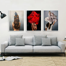 Load image into Gallery viewer, Flowers Woman Abstract Canvas Wall Art