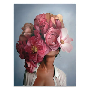Flowers Woman Abstract Canvas Wall Art