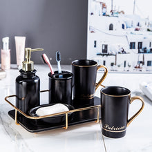 Load image into Gallery viewer, Black Elegant Bathroom Accessories set | Qolombo