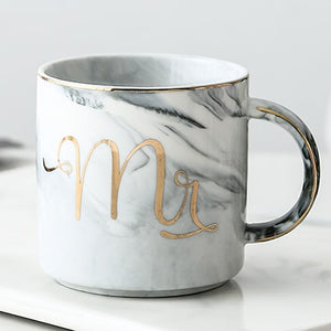 Luxury Pink Gold Mr Mrs Ceramic Marble Coffee Mug Cup Wedding Bridal Couples Lover's Gifts Mug Porcelain Milk Tea Breakfast Cup