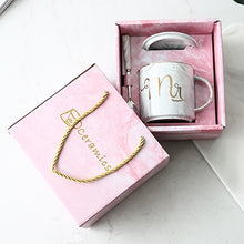 Load image into Gallery viewer, Luxury Pink Gold Mr Mrs Ceramic Marble Coffee Mug Cup Wedding Bridal Couples Lover's Gifts Mug Porcelain Milk Tea Breakfast Cup