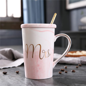 JOUDOO Luxury Marble Pattern Ceramic Mugs Gold Plating MRS MR Couple Lover's Gift Morning Mug Coffee Breakfast Creative Cup 35