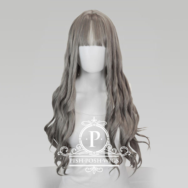 Elizabeth Wolf Grey Curly Wig Front View