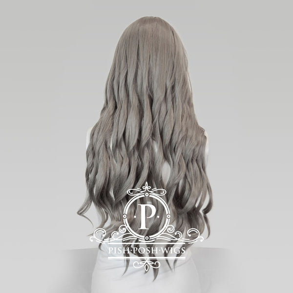 Elizabeth Wolf Grey Curly Wig Back View