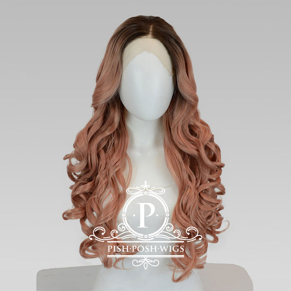 Penelope Rose Gold Curly Lace Front Wig Frontal View