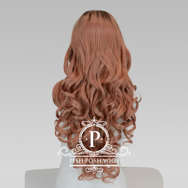 Penelope Rose Gold Curly Lace Front Wig Back View