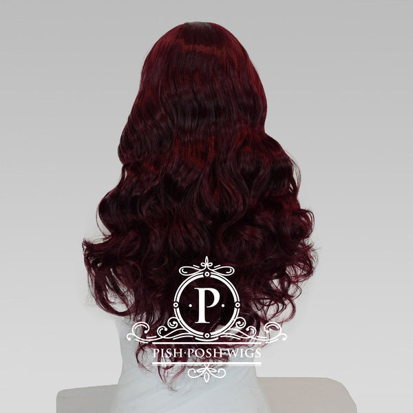 Stevie Chocolate Cherry Long Curly Lace Front Wig Back View