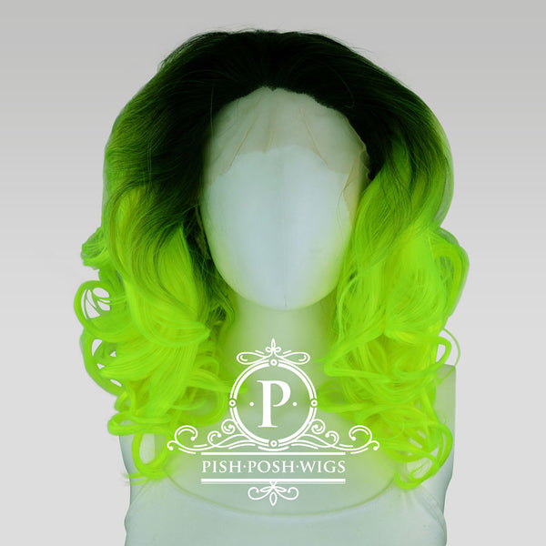 Farrah Neon Green Lace Front Wig Front View