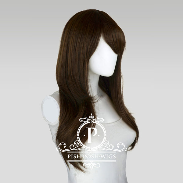 Soraya Long Black Brown Wig Profile View