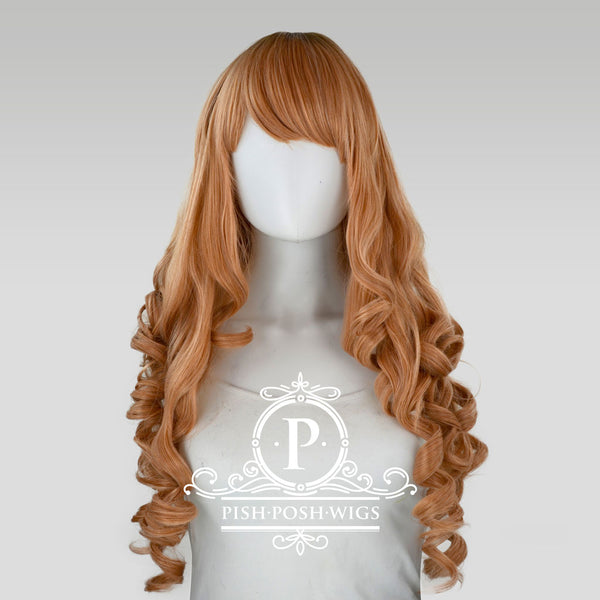 Elizabeth Peach Champagne Curly Wig Front View