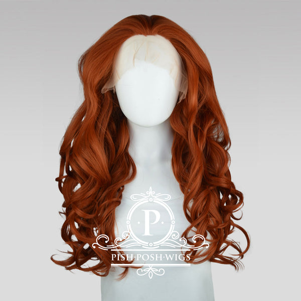 Stefeni Copper Red Lace Front Wig Frontal View