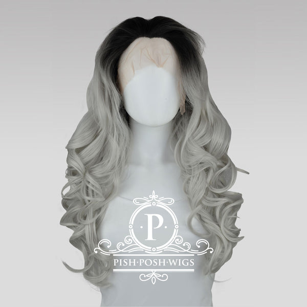 Stefeni Silver Ombre Lace Front Wig Frontal View