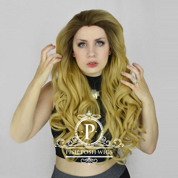 Stefeni Caramel Blonde Ombre Lace Front Wig Model View