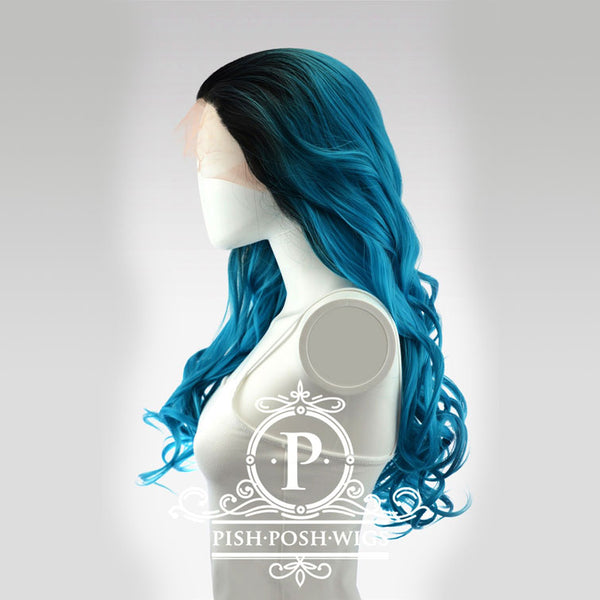 Stefeni Teal Ombre Lace Front Wig Side View