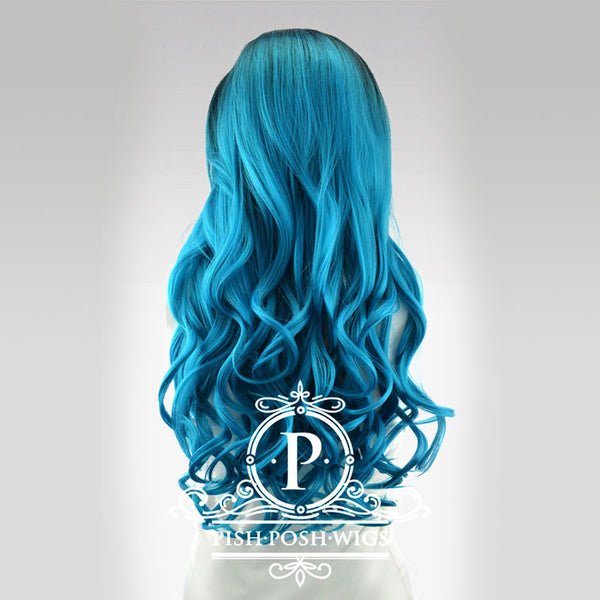 Stefeni Teal Ombre Lace Front Wig Back View