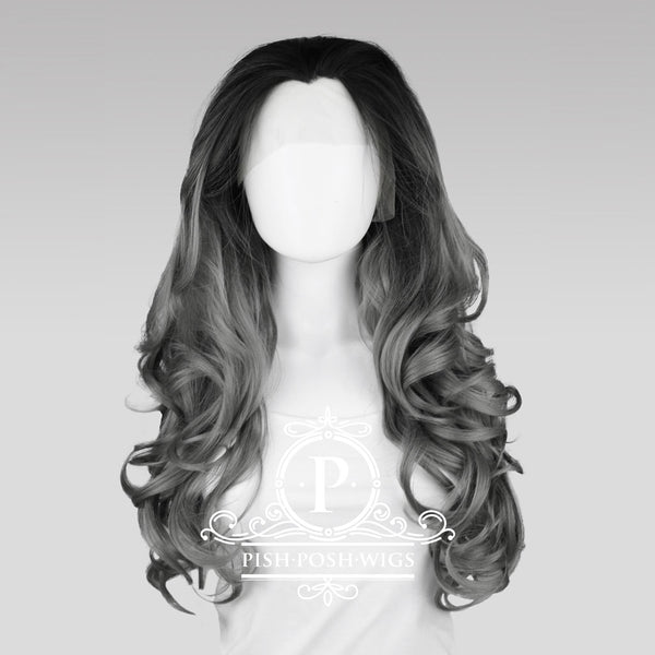 Stefeni Gunmetal Grey Ombre Lace Front Wig Frontal View