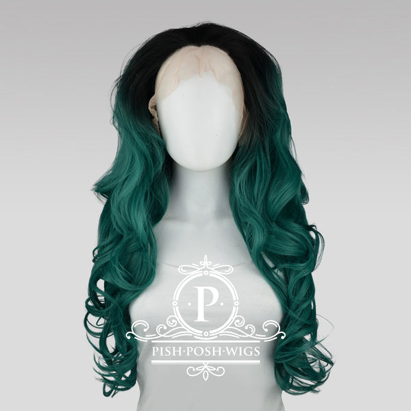 Stefeni Emerald Green Ombre Lace Front Wig Frontal View