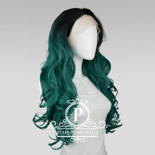 Stefeni Emerald Green Ombre Lace Front Wig Profile View