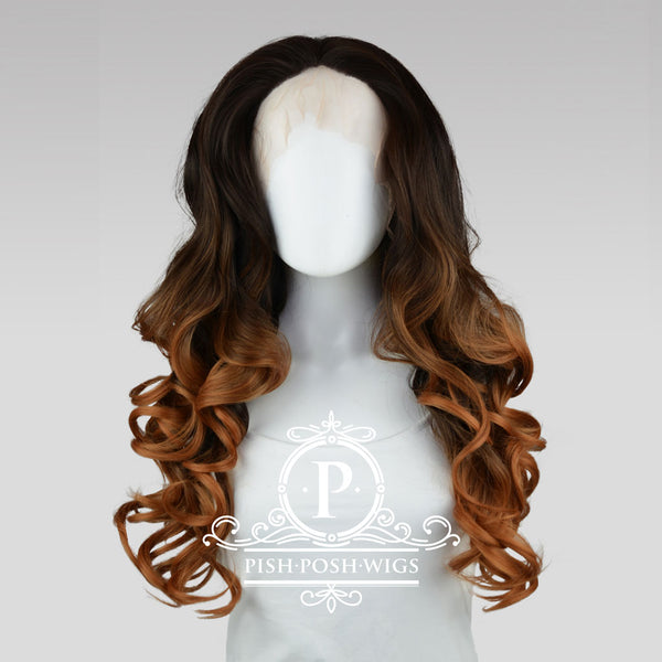 Stefeni Cocoa Brown Ombre Lace Front Wig Frontal View