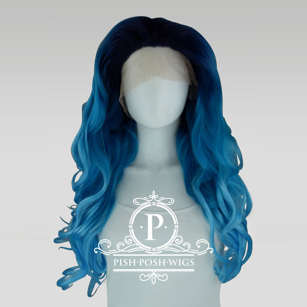 Stefeni Sea Blue Ombre Lace Front Wig Frontal View