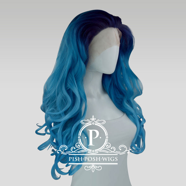 Stefeni Sea Blue Ombre Lace Front Wig Side View