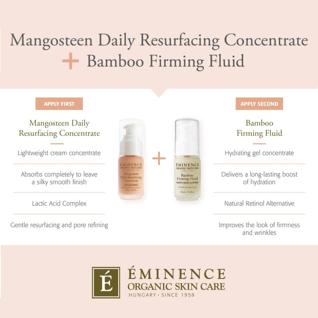 Eminence Organics Mangosteen Daily Resurfacing Concentrate & Bamboo Firming Fluid Chart | Thai-Me Spa