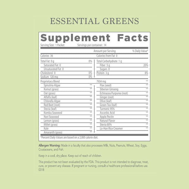 M'lis Essential Greens Drink Mix Supplement Facts - Thai-Me Spa - Hot Springs, AR