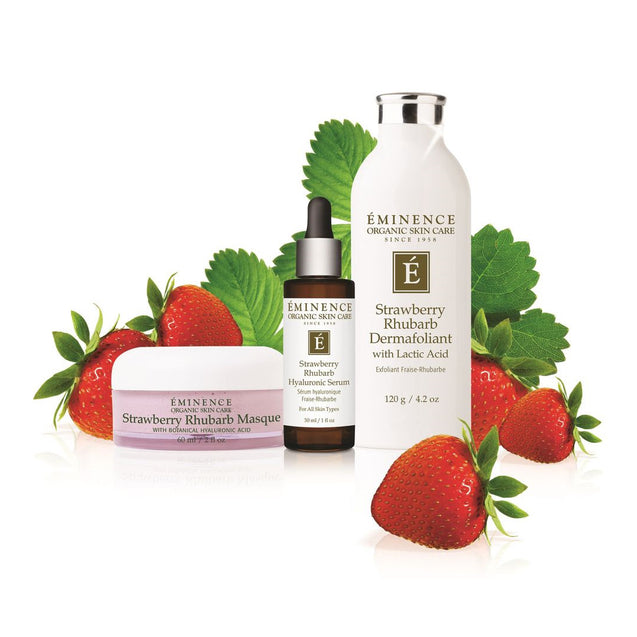 Eminence Organics Strawberry Rhubarb Collection - Available at Thai-Me Spa in Hot Springs, AR