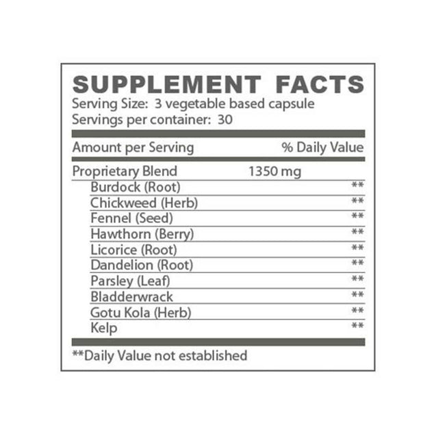 M'lis Slender Aid Appetite Appeaser Supplement Facts - Thai-Me Spa - Hot Springs, AR