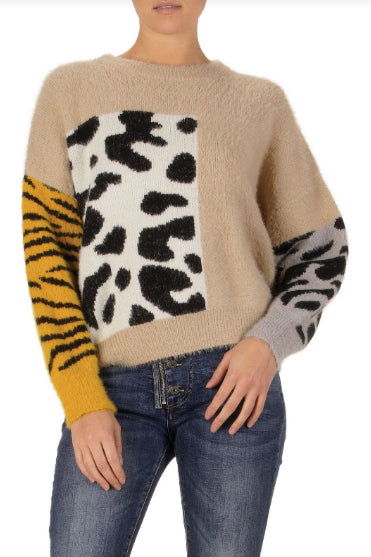 SWEATER WITH PRINTS- TAN