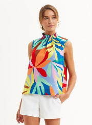 ARDEN SLEEVELESS BLOUSE- TROPICAL LEAF LAYERS