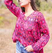 ARIA EMBROIDERED TOP- PINK