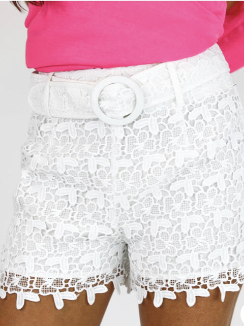 CROCHET SHORTS- WHITE