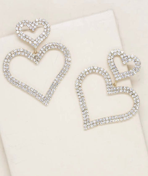 DOUBLE TROUBLE CRYSTAL HEART EARRING- GOLD